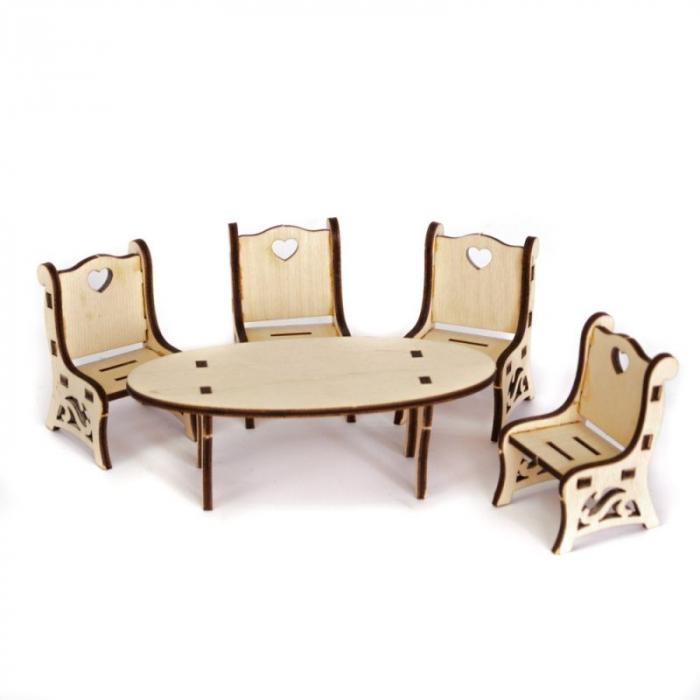 Mini mobilier din lemn – masă cu scaune [0]