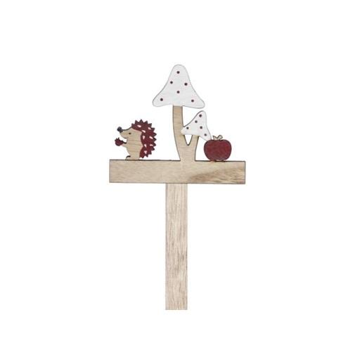 Decoratiune din lemn - arici, ciuperci, mar 0