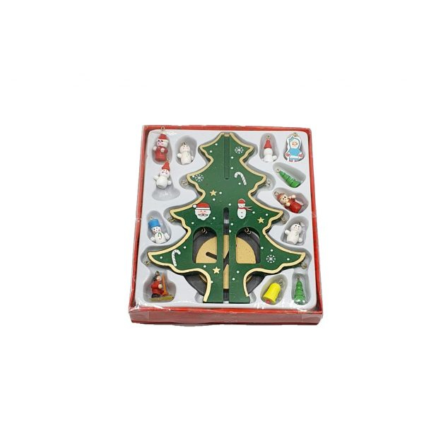 Decoratiune - brad de impodobit cu figurine din lemn 0