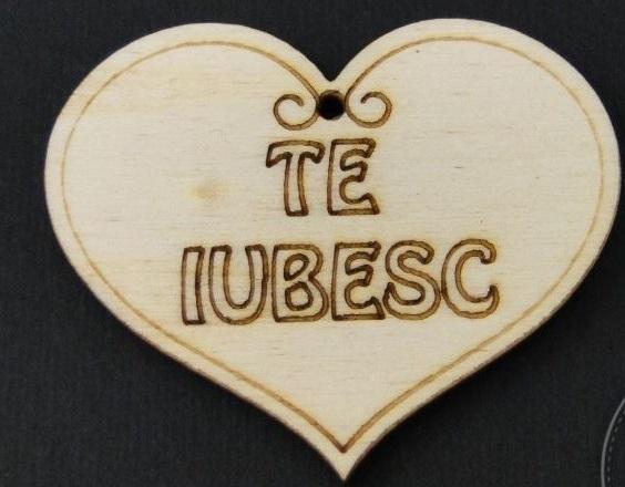 """Figurina din lemn - inimioara cu mesaj """" Te iubesc """" 0"""