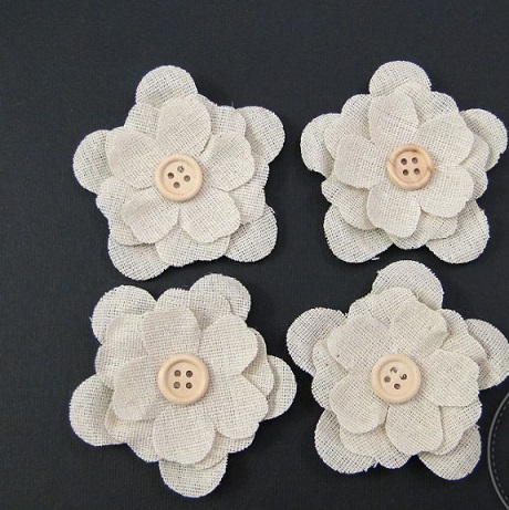 Flori din iuta 6,5cm set/4buc 0