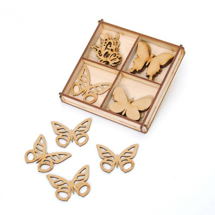 Figurine din lemn MDF set  - 20 de fluturi 0