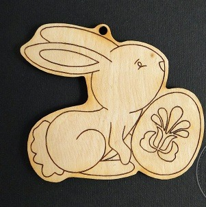 Figurina lemn Paste - iepuras cu oua [0]