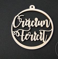"""FIGURINA LEMN GLOB DE CRACIUN - """"Craciun fericit"""" [0]"""