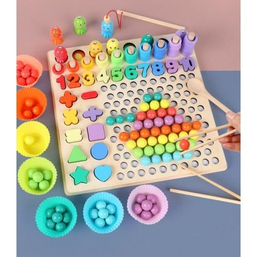 Joc in stil Montessori 5 in 1 curcubeu: de pescuit, cu bilute pentru indemanare, cu cifre, forme si cercuri - numaratoare [3]