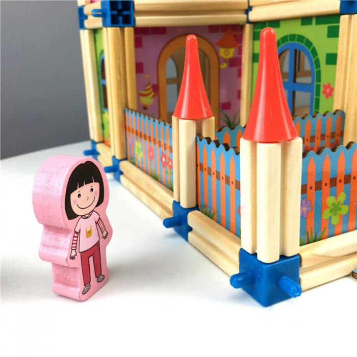 Joc de construit 3D din lemn 128 piese [4]