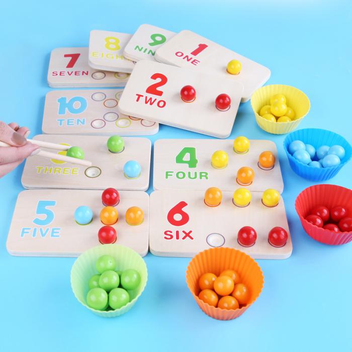 Joc de indemanare in stil Montessori - cu bile, asociere culori, cifre [0]