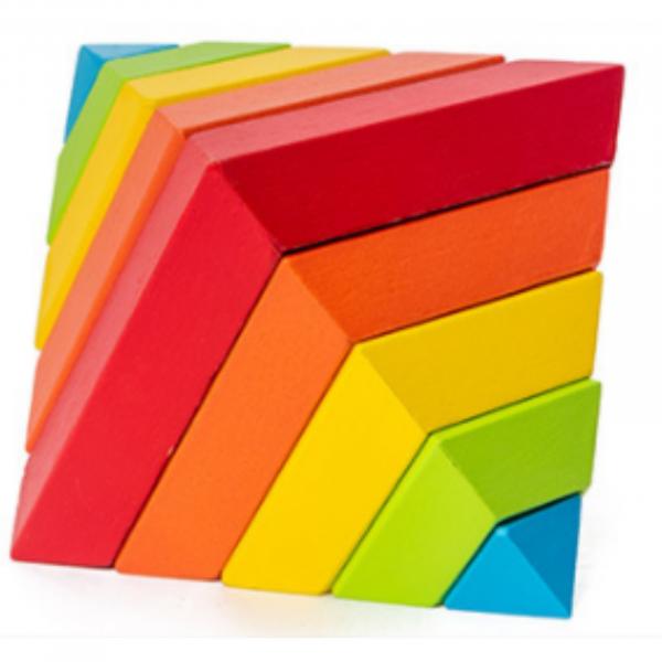 Piramida in stil Montessori - joc 3D curcubeu de construit [0]