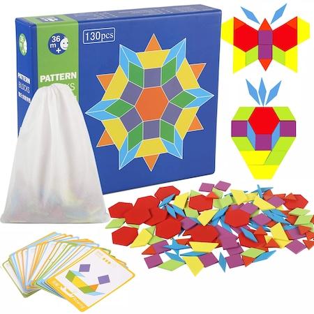 Joc educativ tangram mozaic cu 130 de piese 0