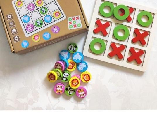 Joc X si 0 / zero din lemn si Sudoku Animale 2 in 1 0