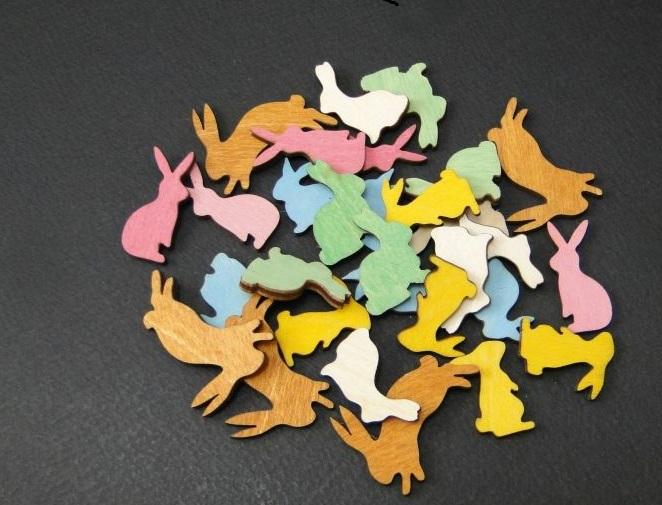 Figurine mini din lemn - iepurasi 0