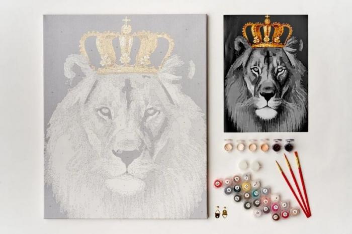 Pictură pe numere 40x50cm Leul rege 1