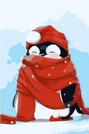 Pictură pe numere - pinguin cu esarfa rosieProTsvetnoy [0]