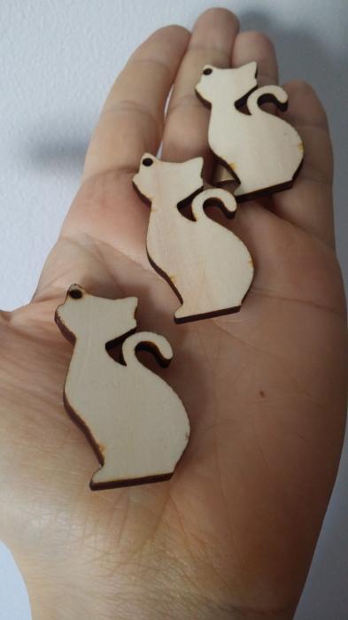 Figurina lemn pisica 0