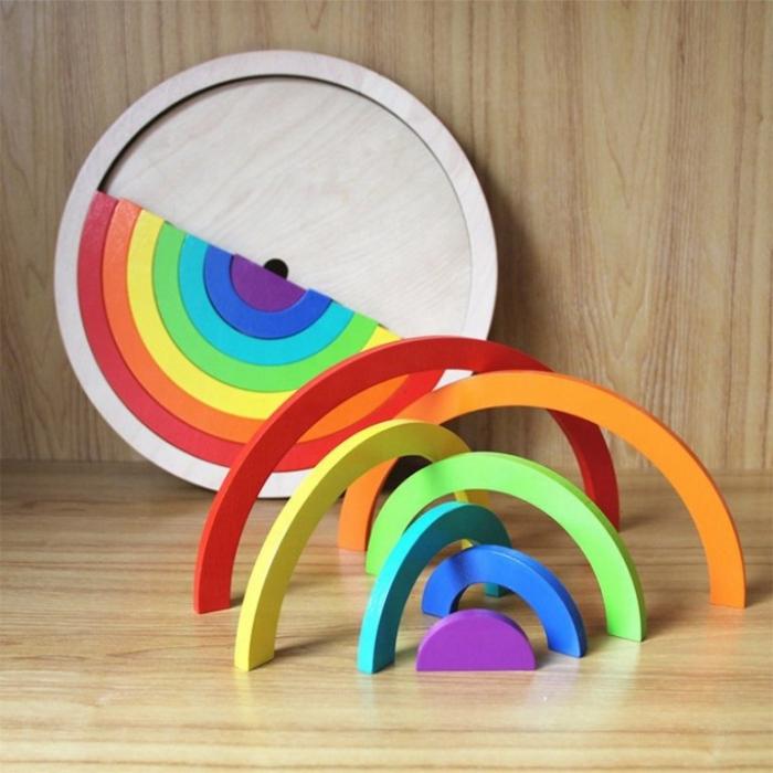 Puzzle in forma de cerc curcubeu - joc in stil Montessori [2]