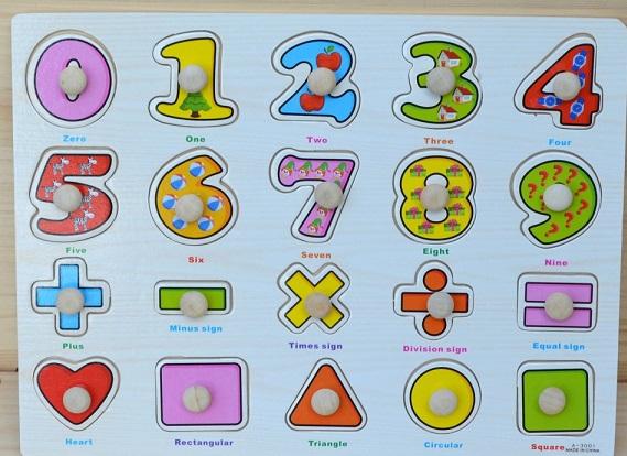 Puzzle cu pin din lemn - cifre si forme geometrice 0