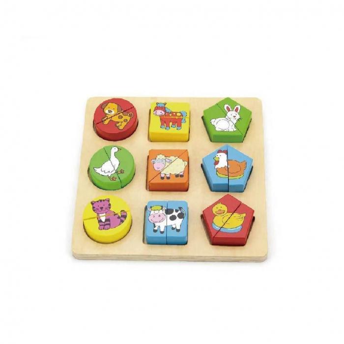 Puzzle din cuburi din lemn cu animale Viga 0