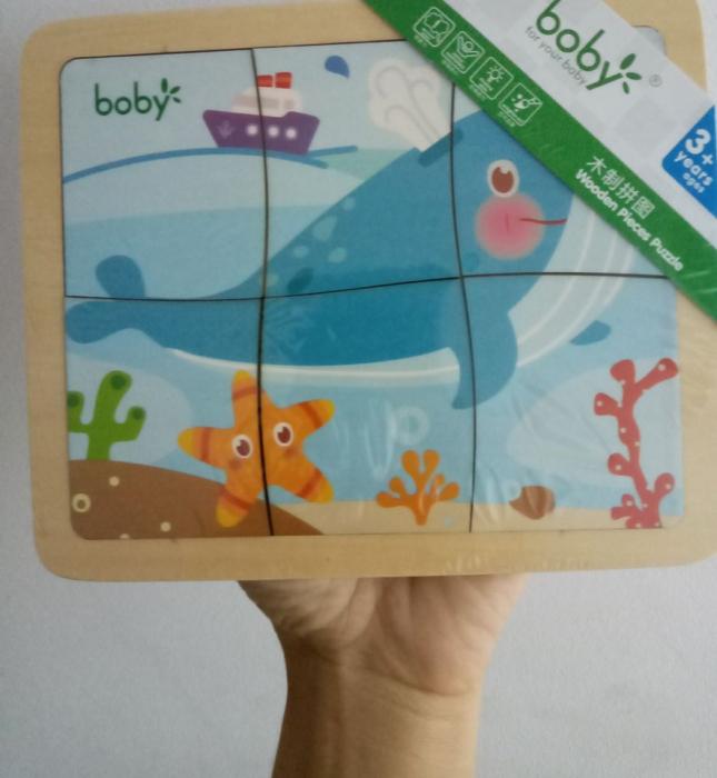 Puzzle din lemn cu 6 piese - balena 0