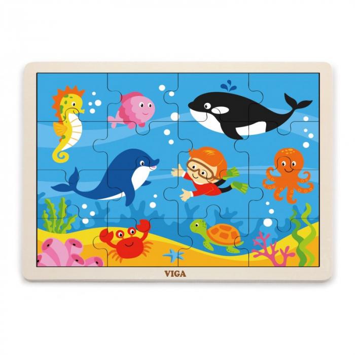Puzzle din lemn din 16 piese - animale din ocean, Viga 0
