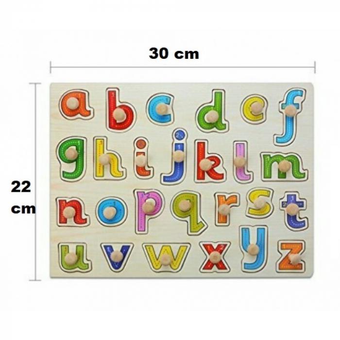 Puzzle cu pin din lemn - litere mici 0