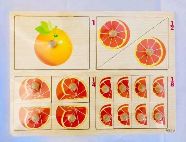 Puzzle cu pin din lemn - fractii 0