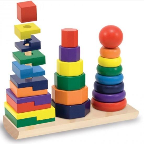 Piramida in stil Montessori 3 in 1 - forme geometrice de stivuit 2