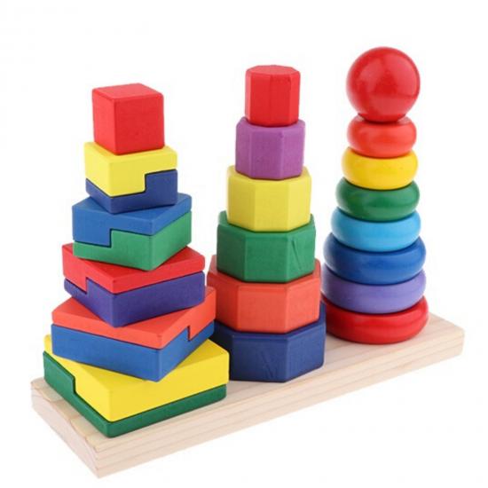 Piramida in stil Montessori 3 in 1 - forme geometrice de stivuit 0
