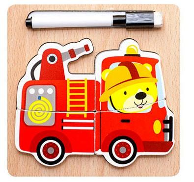 Puzzle lemn 3D masina de pompier - 2 in 1 cu marker [0]