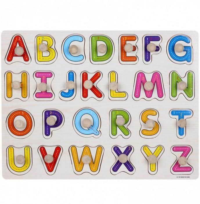 Puzzle cu pin din lemn - litere mari alfabet [0]