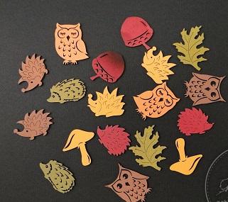 Figurine mini din lemn ( ghinde, bufnite, arici, frunze, ciuperci) 18buc/set 0