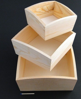 Set 3 tavite din lemn patrate [0]
