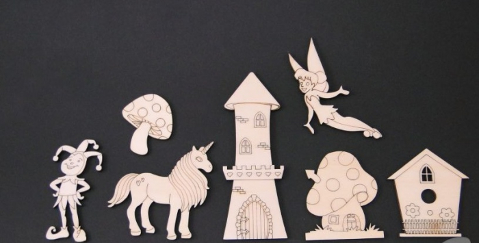 Set figurine lemn - basme / unicorn/ zana 0