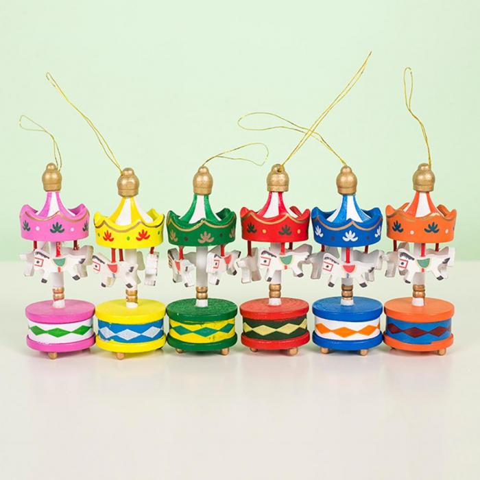 Carusel cu caluti - set 6 ornamente brad Craciun 0