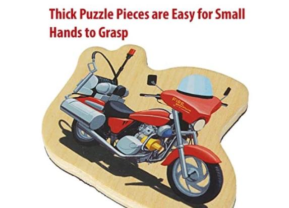 Set puzzle magnetic din lemn pentru copii - masini de pompieri 1