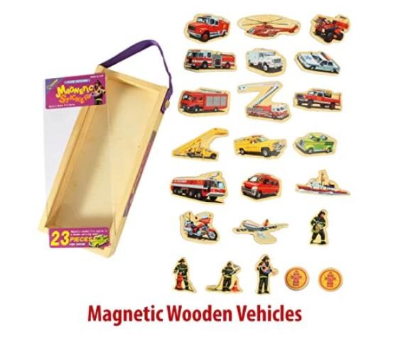 Set puzzle magnetic din lemn pentru copii - masini de pompieri 2
