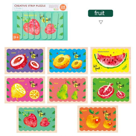 Set puzzle din betisoare  - model fructe Creative Puzzle Strips 1