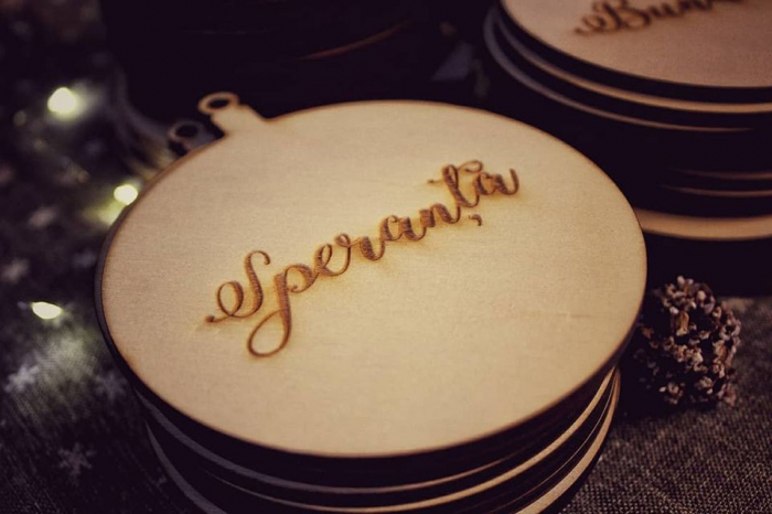 Set forme lemn - glob (mesaje: bunatate, speranta, dragoste, fericire) 2