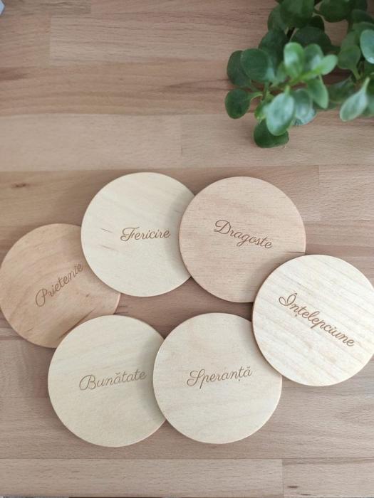 """Set suport pahare cu mesaje """"Prietenie, fericire, dragoste, bunatate, speranta, intelepciune"""" - coastere 0"""