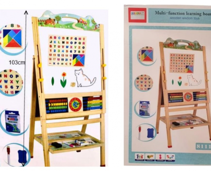 Tabla educativa magnetica -  tablita cu 2 fete, abac, tangram si ceas [0]