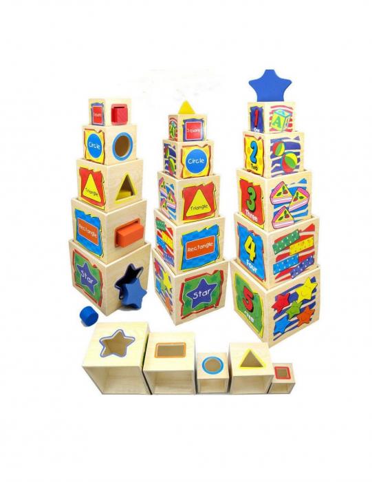 Turn din lemn - cuburi de stivuit 0