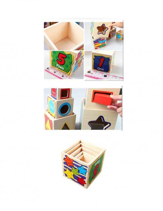 Turn din lemn - cuburi de stivuit 1