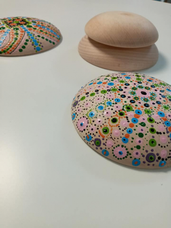 Buline mandala din lemn 14 cm - baza tehnica Dotting art (pictura cu puncte, pictura punct cu punct)4
