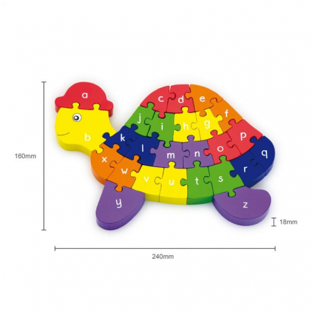 Puzzle din lemn 3D cu litere si cifre - broscuta testoasa  Viga [1]