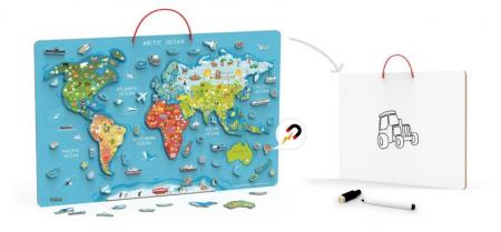 Puzzle magnetic Harta lumii si tabla de scris Viga [1]