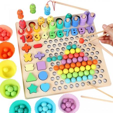Joc in stil Montessori 5 in 1 curcubeu: de pescuit, cu bilute pentru indemanare, cu cifre, forme si cercuri - numaratoare [0]