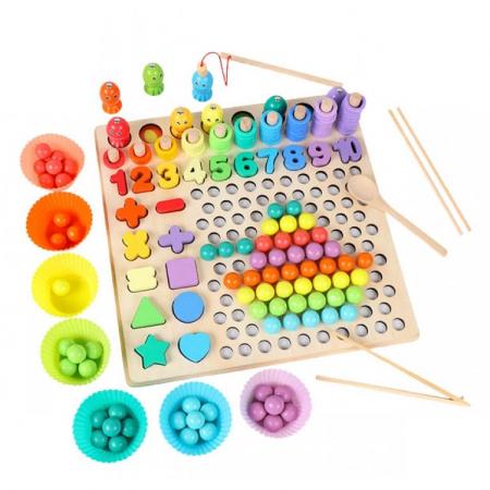 Joc in stil Montessori 5 in 1 curcubeu: de pescuit, cu bilute pentru indemanare, cu cifre, forme si cercuri - numaratoare [2]
