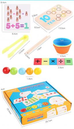 Joc de indemanare in stil Montessori - cu bile, asociere culori, cifre [1]