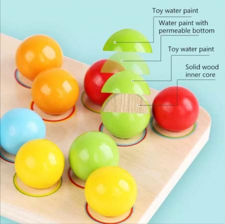 Joc de indemanare in stil Montessori - cu bile, asociere culori, cifre [3]