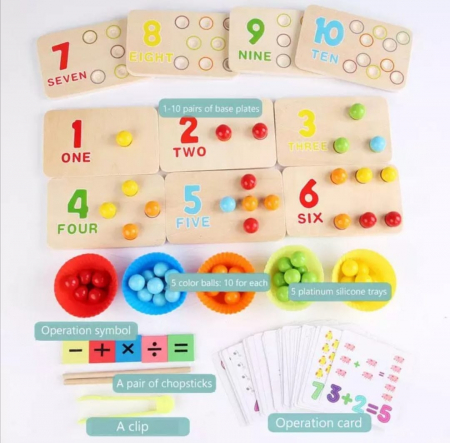 Joc de indemanare in stil Montessori - cu bile, asociere culori, cifre [2]