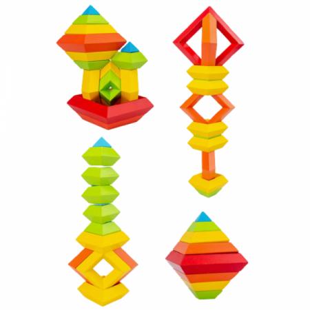 Piramida in stil Montessori - joc 3D curcubeu de construit [4]